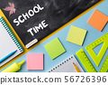 Colorful School stationery and chalkboard on 56726396