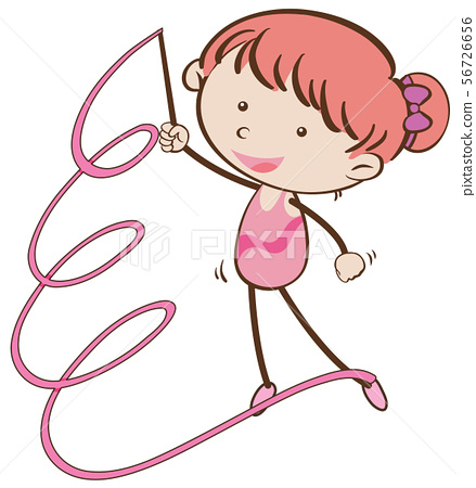 Girl in gymnastic outfit with pink ribbon 56726656