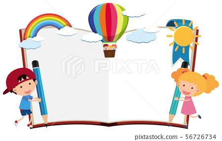 Border template with boy and girl writing with 56726734
