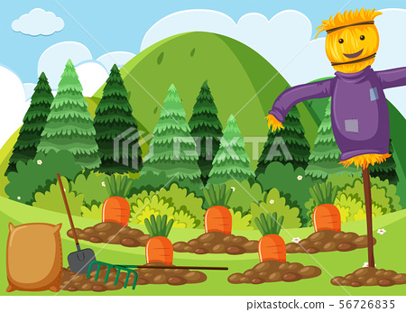 Scene with carrot garden and scarecrow 56726835