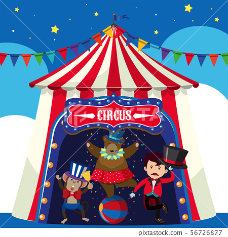 Circus animals and trainer in the tent 56726877