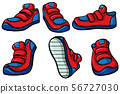 Three pairs of red sneakers 56727030