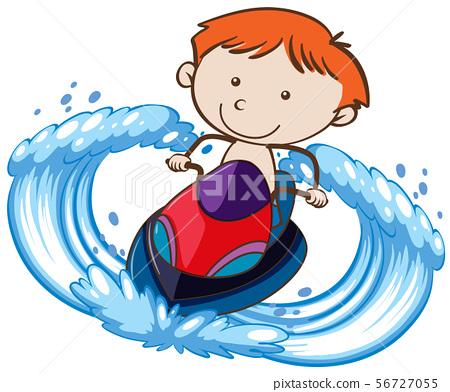 A Boy Riding Jetski on White Background 56727055