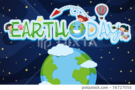 Earthday poster design with kids and earth 56727058