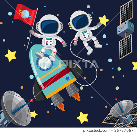 Two astronauts flying in the space 56727067