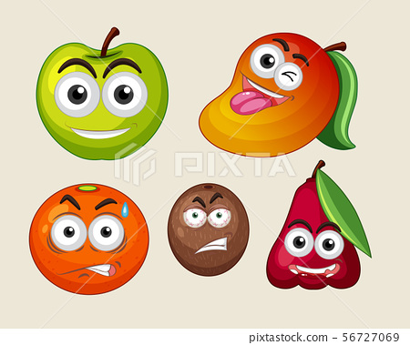Fresh fruits with facial expressions 56727069