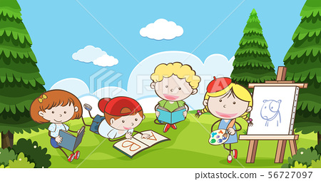 Many kids reading and drawing in park 56727097