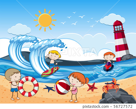 Kids with Beach Activities in Sunny Day 56727572