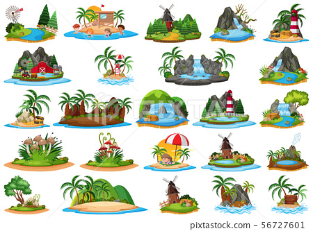 Set of isolated objects theme - islands 56727601