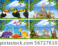 Set of various animals in nature scenes 56727610