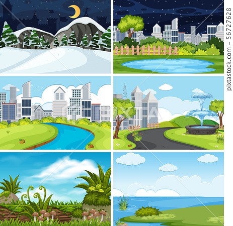 A set of outdoor scene including water 56727628