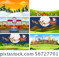 A set of outdoor scene including Santa Claus 56727701
