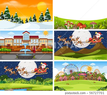 A set of outdoor scene including Santa Claus 56727701