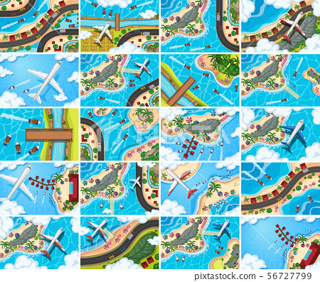 Set of aerial view scenes 56727799