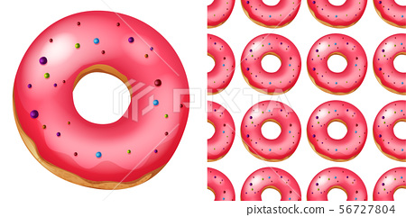 Seamless pattern of donuts on white 56727804
