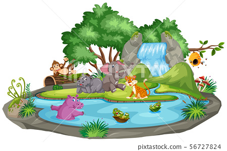 Background scene of animals and pond 56727824