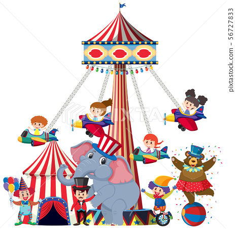 Children riding on airplane swing at the circus 56727833