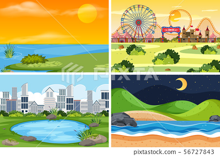 A set of outdoor scene including water 56727843