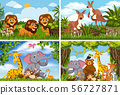 Set of various animals in nature scenes 56727871
