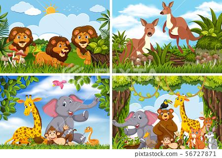 Set of various animals in nature scenes 56727871
