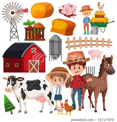 Set of isolated objects theme farming 56727979