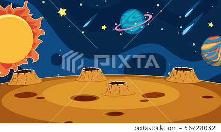 Background design of landscape with planets in 56728032
