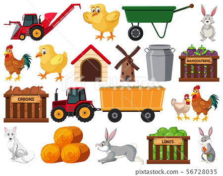 Large set of isolated farm objects 56728035
