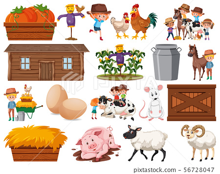 Large set of isolated farm objects 56728047