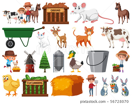 Large set of isolated farm objects 56728070