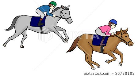 Horse Racing Illustration White Background 56728185