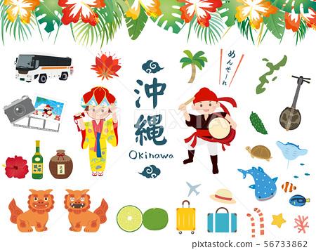 可爱的冲绳插图素材 56733862