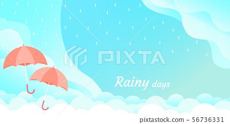 rainy season umbrella float on sky vector 56736331