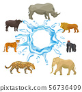 Wild animals with splash of water isolated on white background vector collection. Tiger, elephant 56736499