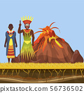 The volcano woke up and spewed out lava, fire and flame in Africa with african aborigens vector 56736502