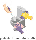 Toilet cleaning service concept vector illustration. Bathroom interior with toilet bowl and cleaning 56736507