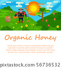Organic honey products vector flat illustrations for web or banner. Honeykeeper cartoon character 56736532