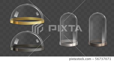 Glass domes, bell jars realistic vector set 56737071