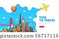 Travel banner design with famous landmarks. 56737119