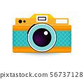Flat illustration with cute photo camera. 56737128