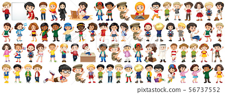Children with different nationalities on white 56737552