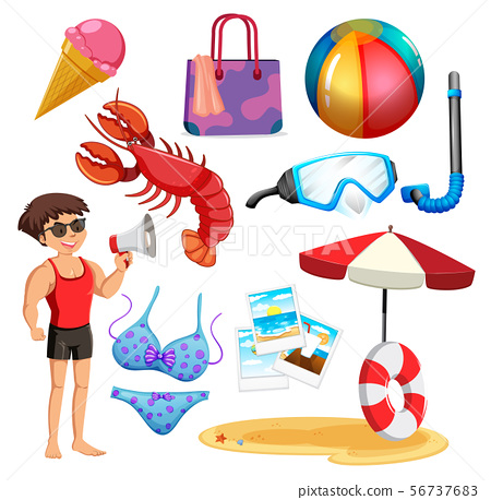 Set of isolated objects theme summer holiday 56737683