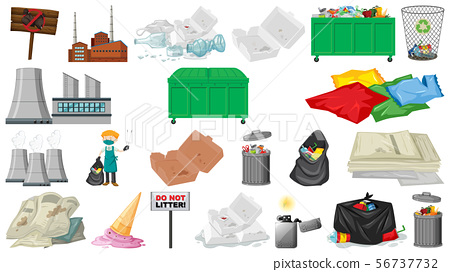 Pollution, litter, rubbish and trash objects 56737732
