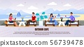 Men and Women Rest at Outdoor Cafe Ad Flat Banner 56739478