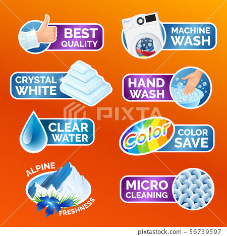 All washing clothes stickers set - micro cleaning, clear water, best quality, crystal white, alpine 56739597