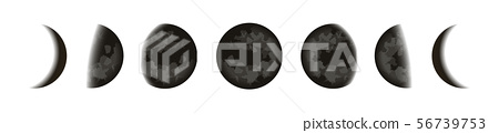 Black moons icons set, lunar phases in night starry sky, Shape of the directly sunlit portion of the 56739753