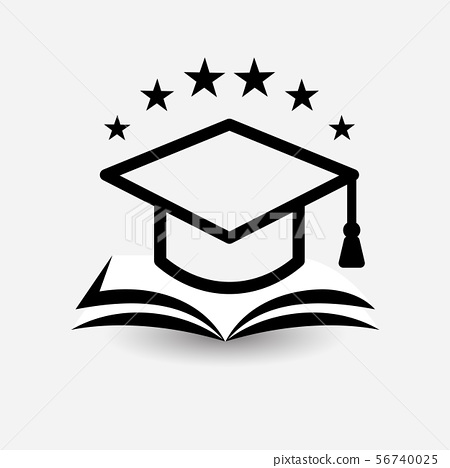 Education vector logo. Open book, dictionary, textbook or notebook with graduation hat icon. Modern 56740025