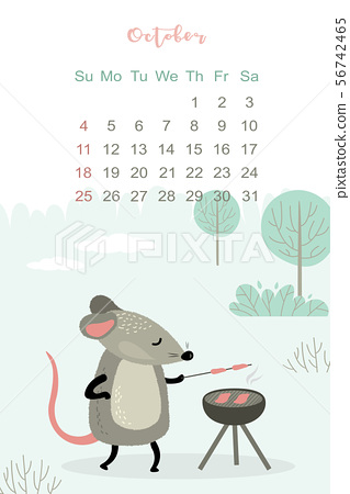 October month 2020 template design. Calendar 2020 with funny and cute rat. 56742465