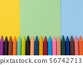Back to school, minimalism concept. School supplies. Wax crayons on pastel blue green color paper 56742713