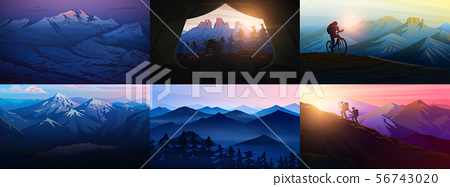 Set of layered mountains for poster. Dark blue landscape and sunset. Hiking and camping concept. Fog 56743020