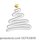 christmas tree simple drawing with golden star 56743849